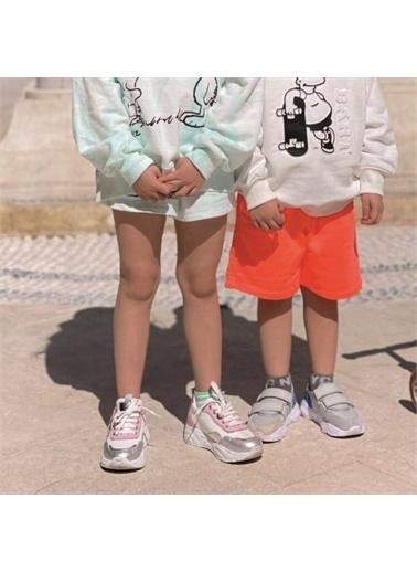 Kids A More A Bağcıklı Kalp Detaylı Deri Kız Ayakkabı  Beyaz